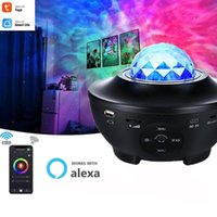 Tuya USB LED Star Night Light Watermark Music Starry Sky Projection Lamp 10W Sound-Activated Projector Smart Life Decor Lamps