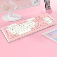 Keyboard Mouse Combos Girly Pink Gaming Mechanical Feel Wired 104-key USB Interface Backlight Is Suitable For Gamers PC Laptops