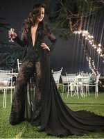 Sexy Deep V Neck Jumpsuit Evening Dresses pants with Detachable Train long sleeves vestaglia donna Lace Appliqued Beaded Formal Party prom Gowns