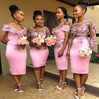 Tea-length Pink Bridesmaid Dresses Lovely 3D Floral Lace Applique African Junior Maid of Honor Wedding Guest Party Sister Dress