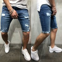 New Mens Short Ripped Jeans Fashion Casual High Quality Retro Elastic Denim Shorts Male Brand Clothes Plus Size 3XL