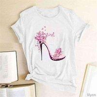 Tops & Tees Women's T-Shirt Express Fashion cartoon butterfly high-eye shoes printed short-sleeved top