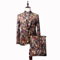 Sonbahar İngiliz Tarzı erkek Yüksek Kaliteli Butik Çiçek Baskılı Ziyafet Damat Wendding Elbise 3-piece Set Erkekler Suit Suits Blazers