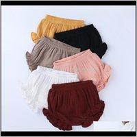 KT Venta al por mayor 6 Colors INS Bebé Pantalones cortos de algodón orgánico PP Niños Casual Ruffles Triángulo Pantalones Chicas Verano Bloomers Wovhf 2RV97