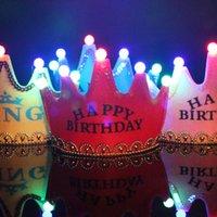 LED Birthday Crown Cap Glowing 5 lamp Crown Hat King Princess Crown Headdress Happy Birthday Decorations Party Glitter Crowns GGA2960