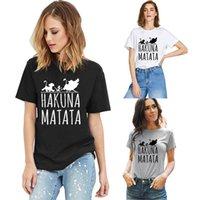 여성 Tshirt 디자이너 Hakuna Matata 인쇄 편지 T 셔츠 짧은 소매 탑 크루 넥 셔츠 여성 블라우스 티 티셔츠 코튼 옷 19 색 S-3XL