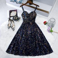 Party Dresses TULX Navy Blue Homecoming Wedding Spaghetti Strap Bling Sequin Short Midi Back Return To Home Prom Evening Dress