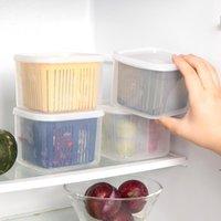 Kunststoff-Obst-Aufbewahrungsbox 2 Gitter-Gräber versiegelt Crispe-Körner Tank-Küche Sortieren von Lebensmittel-Container-Boxen DHD6405