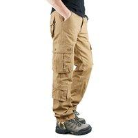 Мужские брюки бренд военные грузы мужские мультикарманские твердые в целом мужчина на открытом воздухе брюки слизистых высокого качества хлопок тактический