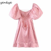 Yenkye Sexy Backless Rosa Leopardenkleid Frauen Square Hauch Hauch Hülse Hohe Taille A-Linie Mini Partykleider Sommer Vestido Mujer Y0628
