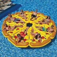 Gigante inflável pizza fatia piscina flutuador para adultos crianças flamingo natação anel de água colchão brinquedos flutuadores tubos