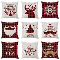 45*45cm Linen Pillow Cover 3d Digital Printing Household Items Elk Sofa Car Pillowcase Christmas Tree Design Gifts Bed Cushion Soft Pillow Case