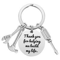 Accessori regalo portachiavi in acciaio inox per giorno di padre se papà non può aggiustare la lettera IT Lettera Hammer Screwdriver Tool Tool Keyring EEB5932