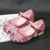 Flat Shoes Princess Girl Crystal Shoe Kids Dress For Wedding Party Bow-tie With Rhinestone Dancing Ball Soft Children High Heels