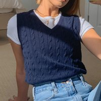 Casual Dresses 2021 Autumn Women's Top Solid Color Temperament Commuter Pullover V-neck Knitted Bottomed Shirt Vest Sleeveless Sweater