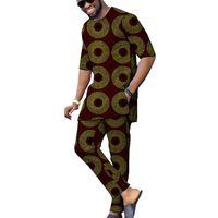 Etnik Giyim Afrika Gömlek + Pantolon erkek Set Kısa Kollu Üst Ve Pantolon 2 Parça Dashiki Baskı Adam Kıyafetler Düğün Giyim Özelleştirilmiş