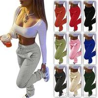 Kadın Pantolon Yığılmış Sweatpants Tasarımcı Spor Rahat İpli Pantolon Artı Boyutu Bayanlar Moda Tayt S-XXXL