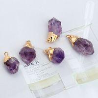 Мода натуральный камень кулон ожерелье аметист кристалл ожерелье подвесной свитер цепи ожерелье ювелирные изделия для женщин рождественские подарок67 Q2