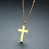 قلادة قلادة من الذهب الصليب الصليب في ستانلس ستيل الخرز سلسلة مجوهرات دينية قلادات