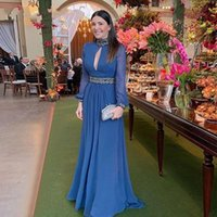 Arabic Long Sleeves High Neck Blue Evening Dresses 2021 Concert Events Belques Beaded Chiffon Vintage Prom Formal Gowns