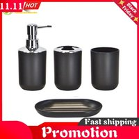 4Pcs Set Bathroom Suit Set Holder Bathing Soap Box Cup Toothbrush Dispenser Black White Gray Dish Bath Storage Sets Accessory
