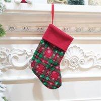 Snowflake Plaid Christmas Stocking Decor Arbres de Noël Arbres de Noël Décorations de fête de 9 pouces Candy Socks Sacs Noël petits cadeaux Sacs 919 B3