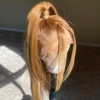 Synthetic Wigs Honey Blonde Silky Straight Long Pre Plucked Baby Hair Lace Front Heat Resistant For Black Women Daily Wear