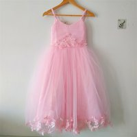Pink Flower Girl Dresses 2021 Perfect Party Pageant First Communion Spaghetti Straps Little Girls Kids Child Dress