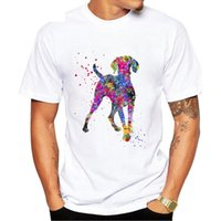 Camisetas para hombre Ameitte Clever Magyar Dog Design T-Shirt Hombres de verano Manga corta Húngaro Vizsla Acuarela Impresión Blanco Tops Casual Tees