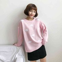 2021 WomenS Kawaii Ulzzang Vintage College Loose Clouds Sweater Female Korean Punk Thick Cute Loose Harajuku Clothing For Women