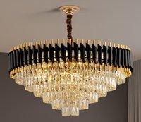 Living Room Luxury Black Metal Led Pendant Lights Chandeliers Modern Lustre K9 Crystal Hanging Lamp Indoor Lighting Fixture