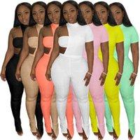 Женские три части брюки костюма урожая верхние леггинсы набор сексуальные вылапыты с короткими рукавами брюки ночной клуб вечеринка дама повседневная одежда
