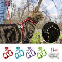 Collari per gatti conducono 4 colori Nylon Riflettente Cucciolo Cablaggio Guinzaglio Lead Set Set di piombo Camminare Gilet di Trazione dell'animale domestico regolabile per la cinghia del regalo del gattino Tag ID