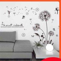 [Shijuekongjian] Negro Color Dientes de león Pegatinas DIY Flores Calcomanías de pared para sala de estar Dormitorio para niños Decoración de la cocina