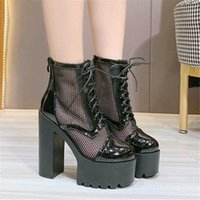Fashion 2021 Autumn Women High Heels 14CM Platform Anterior Lace Up Leather And Mesh Short Sandals Boot Black White Ladies Shoes Boots