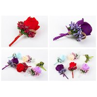 Colorful Beauty Simulation Silk Rose Boutonniere Pin Brooch Wedding Decorations Flower Groom Bride Corsage Wrist Decorative Flowers & Wreath