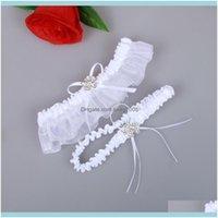 Asoresen, Party EventsWhite Bridal Gürtel Organza Sexy Feminine Kristalle Hochzeit Bein Garters Bow 2 PC Set Prom Homecoming Größe 15-23 Zoll