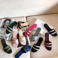 2021 роскошные дизайнерские кожаные дамы сандалии летняя мода пляж женщины большая голова тапочка радуга буквы тапочки 35-42