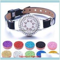 Bangle Jewelry10Pcs Lot Full Zircon Jewelry Essential Oil Diffuser Locket Bracelet Leather Bracelets For Women Men1 Drop Delivery 2021 0Dhkf