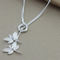925 plata esterlina Dos collar colgante de libélula para mujer Collar de cadena de serpientes Joyería de compromiso de boda 1214 T2