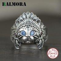 Серебряное кольцо для мужчин для мужчин Женщины Ретро животное Открытое регулируемое заявление Ювелирные Изделия Синий Циркон Глазные кольца