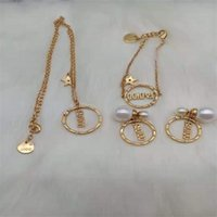 75% av Outlet Family Letter Pearl Five Pethed Star Halsband Armband Örhängen Brass 925 Silver Neede Awy4