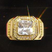 Size 8 9 10 11 12 13 Luxury Jewelry 925 Sterling Silver&Gold Filled princess 5A Cubic Zirconia CZ Dioamond Gemstones Men Wedding DFF3334
