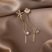 Cuello Araña 2021 Llegada De moda Geométrico Sweet Crystal Starfish Shell Asymmetric Pearl Tassel Mujer Pendientes Joyería de Moda