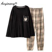 Men's Casual Sleepwear Trendy Cartoon Printing Home Suit Soft Cotton Pyjamas for Man Spring Mens 2 Pcs Pullover Pajamas Set 210918
