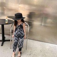 Ins meninas boutique impresso roupas conjuntos de crianças com decote em v + calça elástica 2 pcs crianças roupas de verão A6733