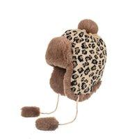 새로운 겨울 2021 Ushanka Sovietica 니트 스노우 모자 여성 러시아 폭격기 모자 표범 인쇄 가짜 토끼 모피 Pompom Sombrero Gorro