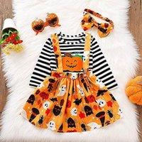 Halloween Kids Clothing Sets Girls Outfits Baby Clothes Long Sleeve Striped Tops T-shirts Pumpkin Embroidered Cartoon Skirt Dress Headbands 3Pcs B7616