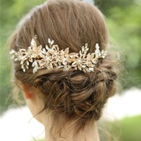Gold Color Flower Pearl Rhinestone Hair Comb Hair Accessories For Women Handmade Wedding Jewelry Headband Bride Accesories
