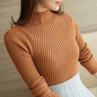 Dress Women Fashion Tops Sweaters 2021 Winter Long Sleeve Turtleneck Pullovers Womens Femme Clothing Women's